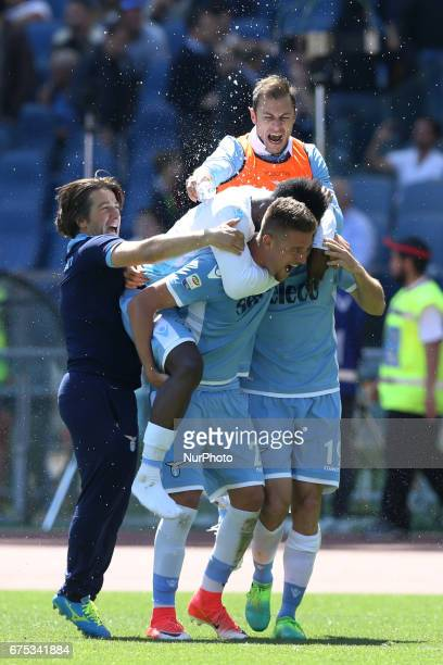 Stfan Radu and Sergej MilinkovicSavic of Lazio celebrating the victory with the teammates during the Serie A match between AS Roma and SS Lazio at...