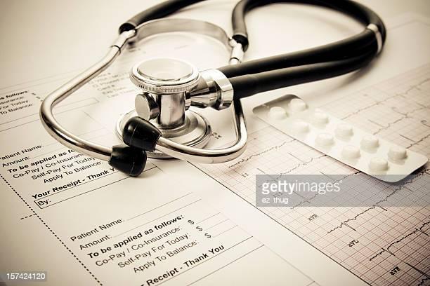 Sthetoscope, EKG, pilss and client receipt