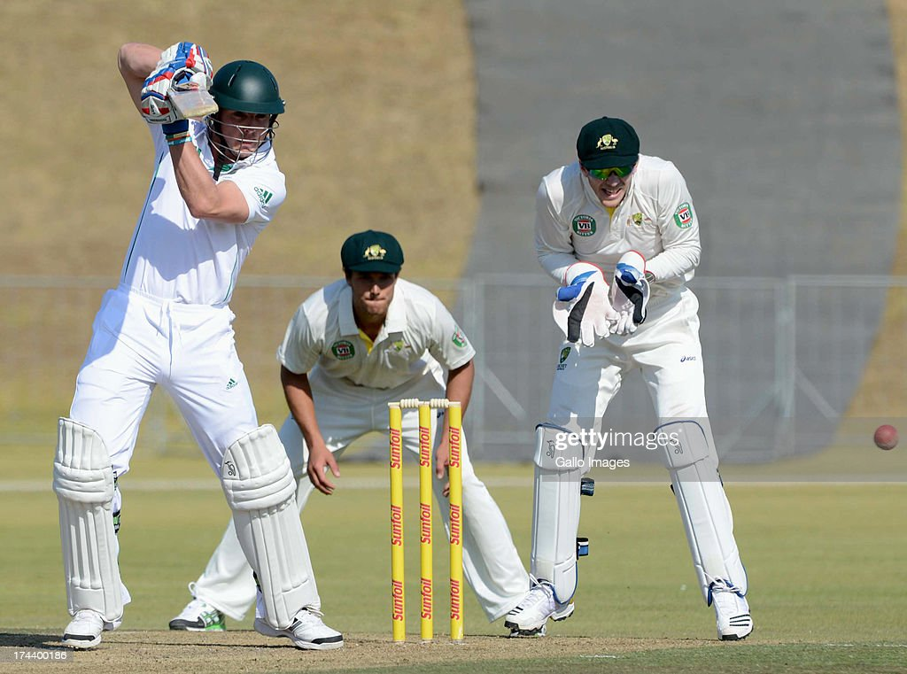 Stiaan van Zyl of of South Africa A during day 2 of the 1st Test match between South Africa A and Australia A at Tuks Oval on July 25, 2013 in Pretoria, South Africa.
