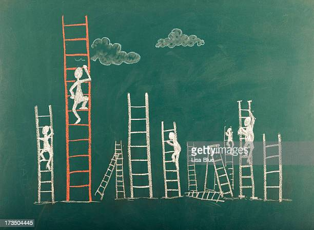 Stick Figure Climbing Ladder To Success