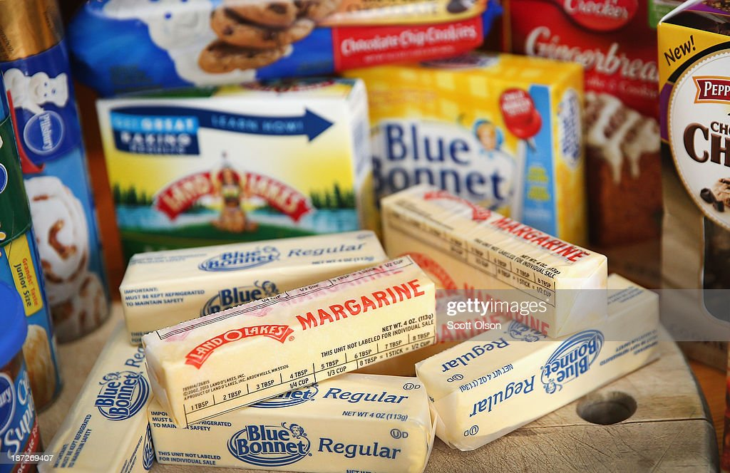 Stick margarine and other food items which contain trans fat are shown on November 7, 2013 in Chicago, Illinois. The U.S. Food and Drug Administration today proposed a rule change that would eliminate trans fat from all processed foods.