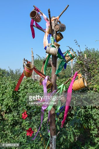 Stick with hung at her beer steins and ribbons : Stock Photo