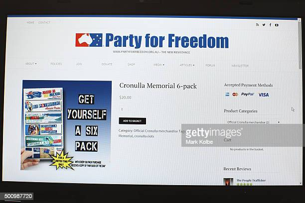 A sticker 6pack seen on the Party for Freedom website for their organised 'Cronulla Riots Memorial' event on December 11 2015 in Sydney Australia The...