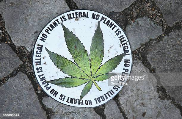 A sticker calling for the legalization of marijuana lies on the street at the annual Hemp Parade on August 9 2014 in Berlin Germany Supporters of...