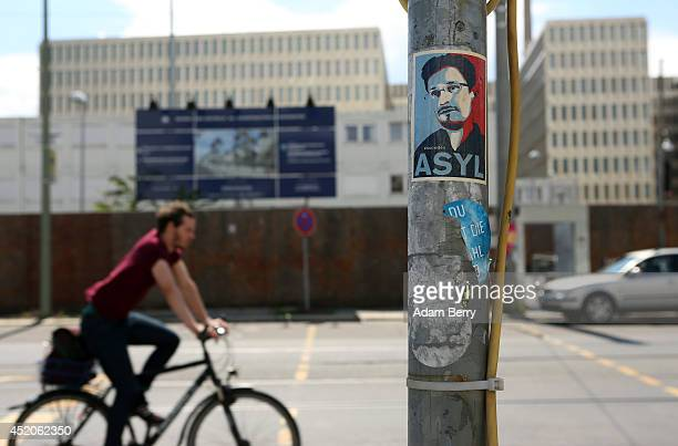 A sticker demanding asylum for United States National Security Agency whistleblower Edward Snowden is seen outside the partiallyfinished new...