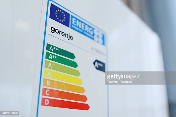 Sticker for determination of the energy efficiency class of electrical appliances on a refrigerator on April 02 in Berlin Germany The energy...