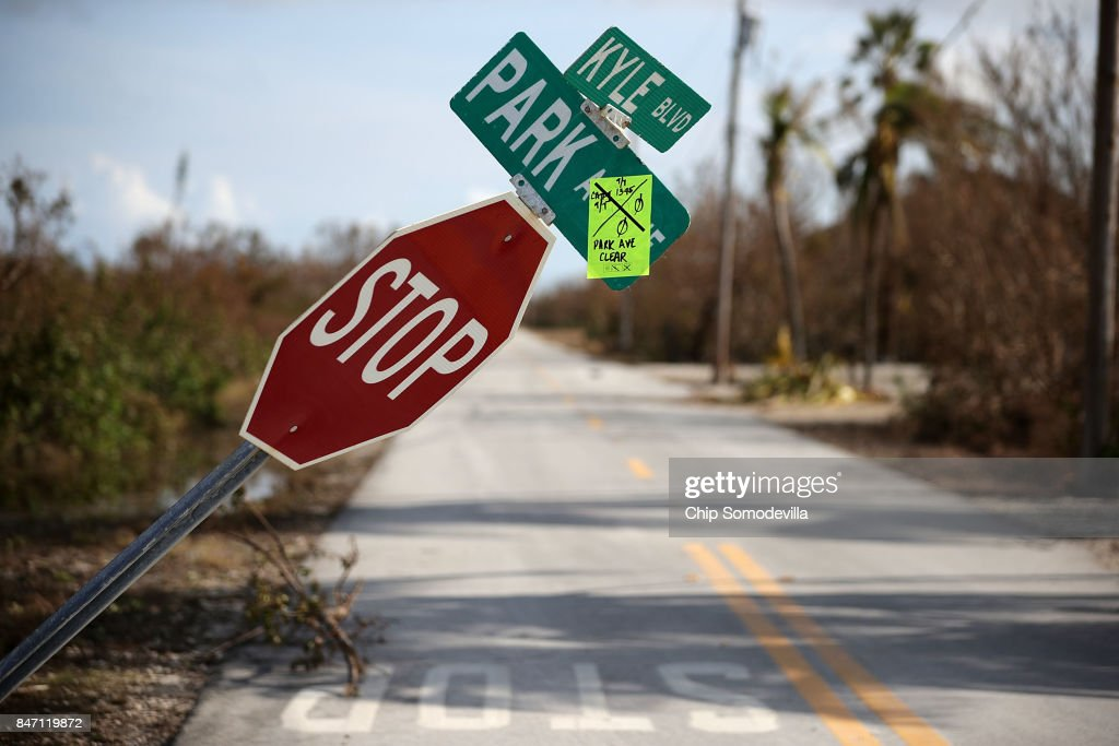 A sticker left behind by search and rescue teams indicates that no victims were found on this street in the Port Pine Heights neighborhood September 14, 2017 on Big Pine Key, Florida. Many places in the Keys still lack water, electricity or mobile phone service and residents are still not permitted to go further south than Islamorada. The Federal Emergency Managment Agency has reported that 25-percent of all homes in the Florida Keys were destroyed and 65-percent sustained major damage when they took a direct hit from Hurricane Irma.