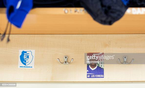 A sticker of Brazilian player Luis Ferreira sits on the wall in the locker room at the ground of Slovakian football club FC STK Samorin in Samorin...