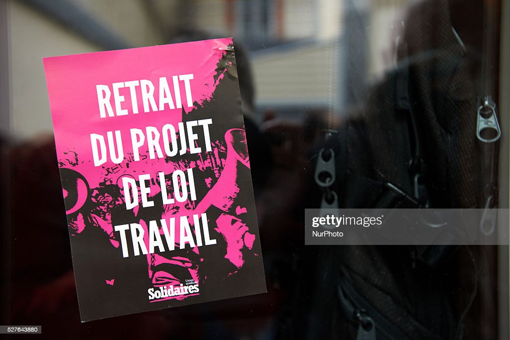 A sticker reading 'withdrawal of the bill on work'. Toulouse. France. May 3th 2016.