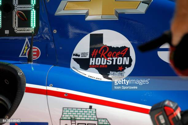 A sticker remembering the recent floods in Houston is seen on one of AJ Foyt's cars at the GoPro Grand Prix of Sonoma on September 15 2017 at Sonoma...