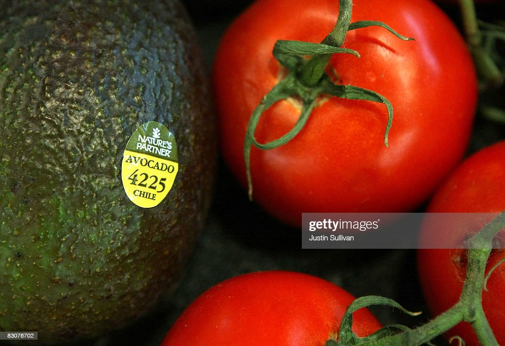A sticker showing the country of origin of an avocado is seen at Andy's Market October 1 2008 in San Rafael California A new federal law that that is...