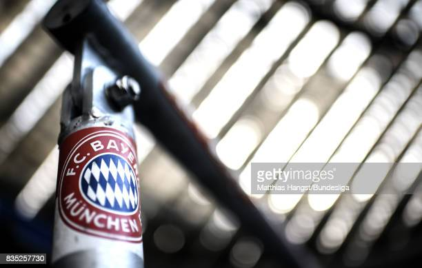 A sticker with the FC Bayern Muenchen logo seen prior to the Bundesliga match between FC Bayern Muenchen and Bayer 04 Leverkusen at Allianz Arena on...