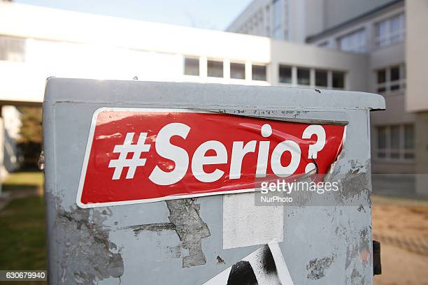A sticker with the word serious is seen on it in the center of the city on December 30 2016 in Bydgoszcz Poland Bydgoszcz is the eighthlargest city...