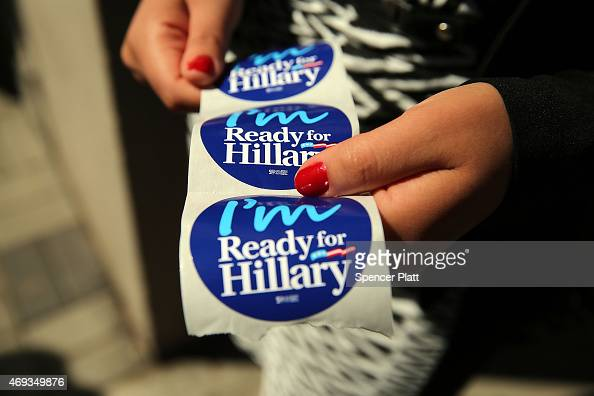 Stickers are handed out to supporters of Hillary Rodham Clinton's yet to be announced presidential campaign at a rally in Manhattan on April 11 2015...