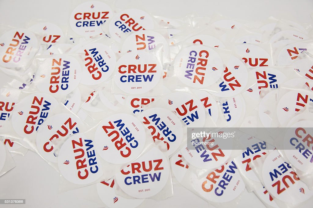 Stickers in support of Senator Ted Cruz a Republican from Texas and former 2016 presidential candidate are displayed outside a Cruz campaign booth...