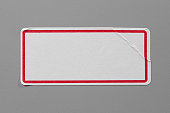 Top View of Adhesive Paper Tag. Copy Space for Text or Image