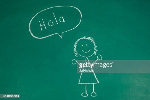 Stickfigure saying Hello in Spanish Chalk Drawing