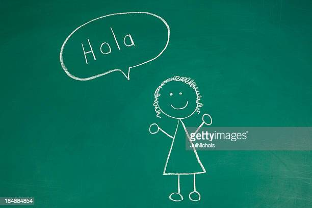 Stickfigure saying Hello in Spanish Chalk Drawing