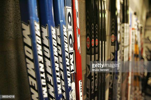Sticks are shown in the Primus Worldstars locker room on December 19 2004 at the Cloetta Center in Linkoping Sweden