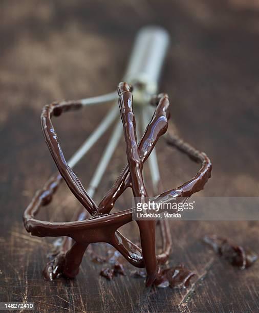 Sticky chocolate on whisk