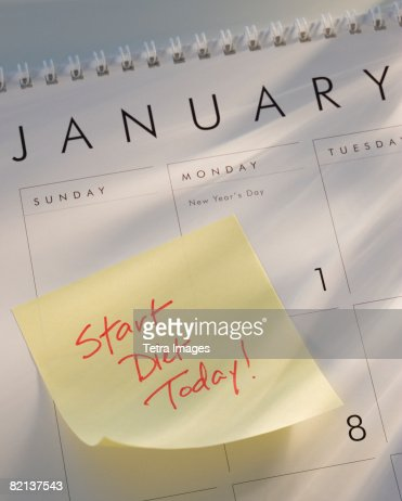 Sticky note on calendar