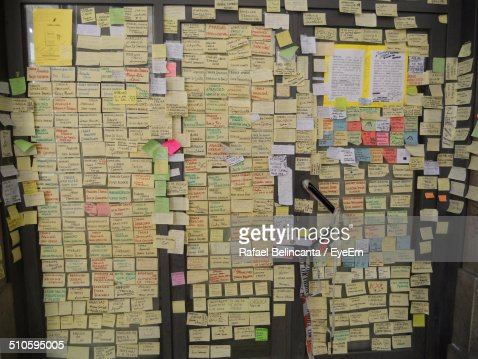 Sticky notes with messages on wall