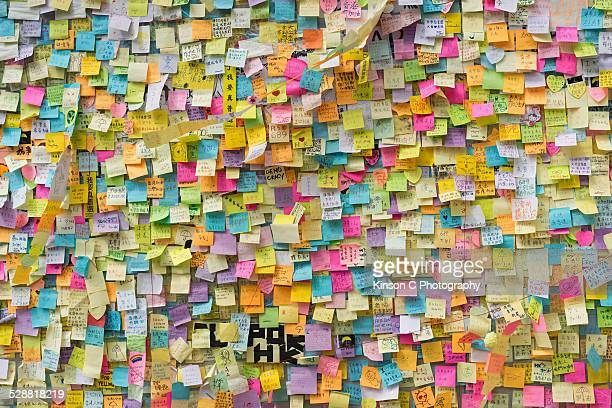Sticky notes written by protestors in Hong Kong