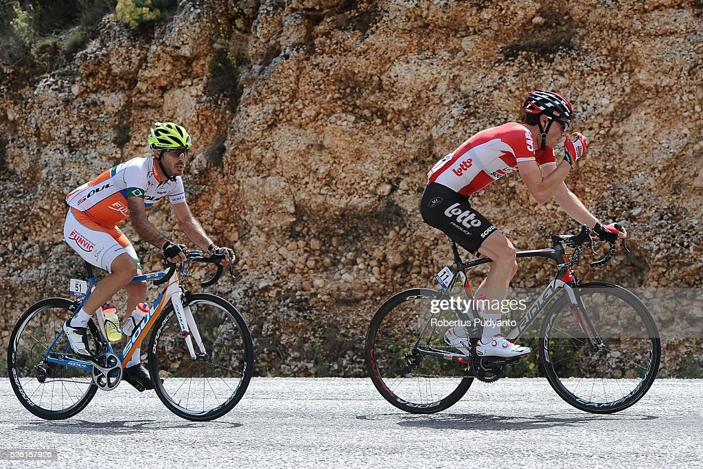 <a gi-track='captionPersonalityLinkClicked' href=/galleries/search?phrase=Stig+Broeckx&family=editorial&specificpeople=12891460 ng-click='$event.stopPropagation()'>Stig Broeckx</a> of Lotto Soudal (R) leads to Antonio Piedra Perez of Funvic Soul Cycles-Carrefour (L) compete during Stage 6 of the 2016 Tour of Turkey, Kumluca to Elmali (117 km) on April 24, 2016 in Kumluca, Turkey.