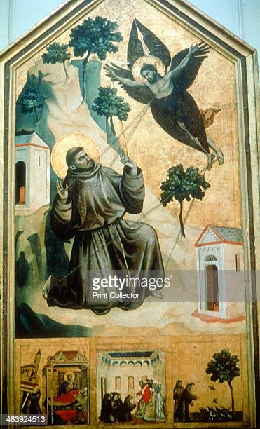 'Stigmatisation of St Francis' 1300 St Francis of Assisi portrayed in a monk's habit tonsured and with a golden halo kneeling as he receives the...