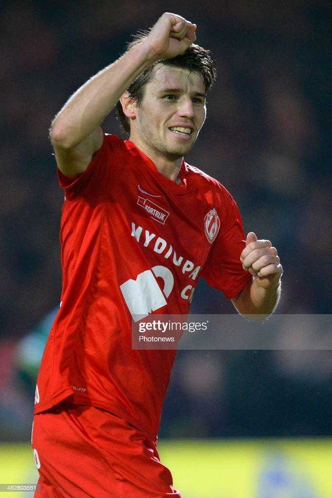 Stijn De Smet of KV Kortrijk celebrates scoring the opening goal during the Jupiler Pro league match between KV Kortrijk and SV Zulte Waregem at...