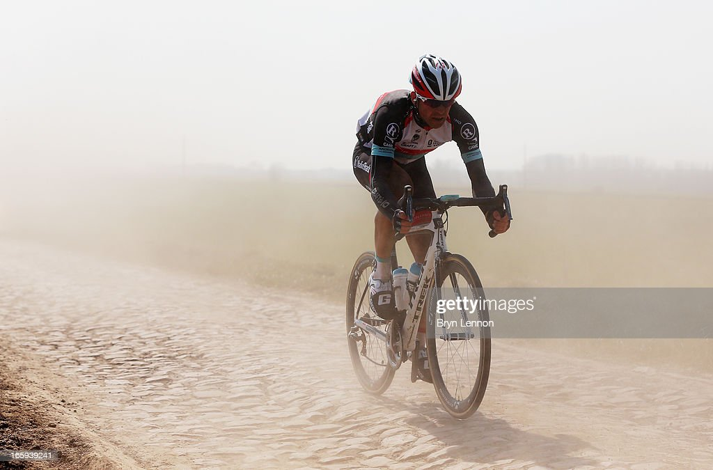 Stijn Devolder of Belgium and Radioshack Leopard in action 2013 Paris - Roubaix race from Compiegne to Roubaix on April 7, 2013 in Roubaix, France. The 111th Paris - Roubaix race is 254km long and contains 27 sections of cobblestones.