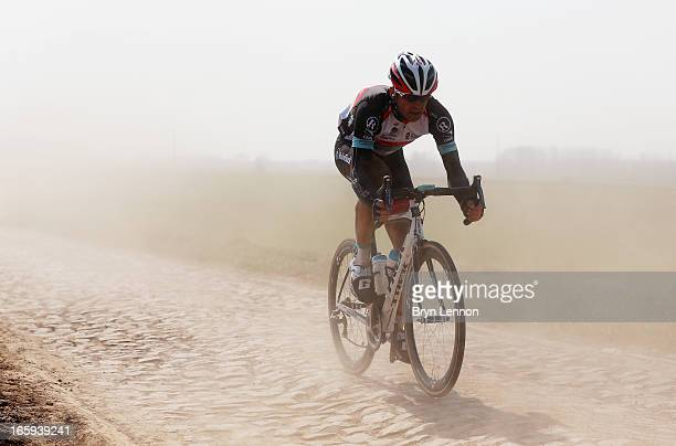 Stijn Devolder of Belgium and Radioshack Leopard in action 2013 Paris Roubaix race from Compiegne to Roubaix on April 7 2013 in Roubaix France The...