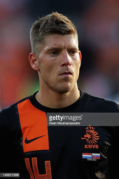Stijn Schaars of Netherlands stands for the national anthem prior to the International Friendly between the Netherlands and Slovakia at De Kuip...