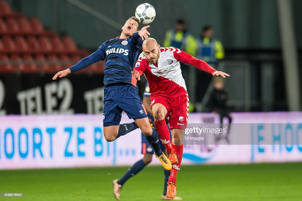 Stijn Schaars of PSV, Ruud Boymans of FC Utrecht during the Dutch Eredivisie match between FC Utrecht and PSV Eindhoven at the Galgenwaard Stadium on February 07, 2016 in Utrecht, The Netherlands