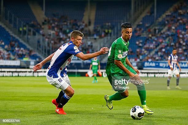 Stijn Schaars of sc Heerenveen Hachim Mastour of PEC Zwolle during the Dutch Eredivisie match between sc Heerenveen and PEC Zwolle at Abe Lenstra...