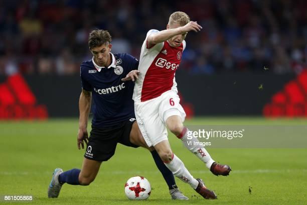 Stijn Spierings of Sparta Rotterdam Donny van de Beek of Ajax during the Dutch Eredivisie match between Ajax Amsterdam and Sparta Rotterdam at the...