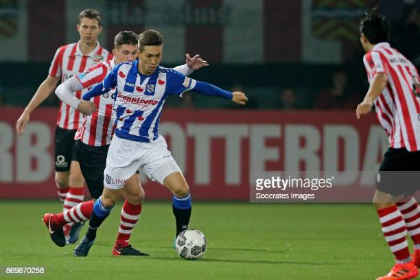 Stijn Spierings of Sparta Rotterdam Yuki Kobayashi of SC Heerenveen during the Dutch Eredivisie match between Sparta v SC Heerenveen at the Sparta...
