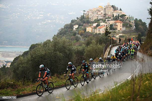 Stijn Vandenbergh of Belgium and Etixx Quick Step leads a group of riders on stage six of the 2015 ParisNice from Vence to Nice on March 14 2015 in...