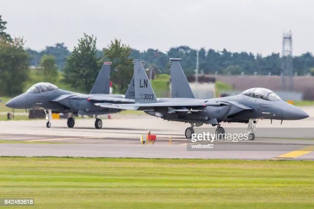 F-15E Stike Eagles maneuver onto the runway