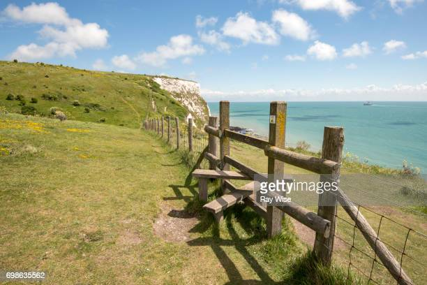 Stile and fence on White Cliffs of Dover