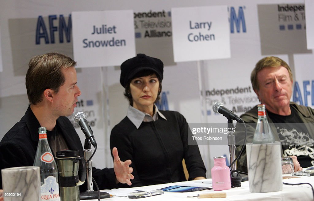 Stiles White, Juliet Snowden, and <a gi-track='captionPersonalityLinkClicked' href=/galleries/search?phrase=Larry+Cohen&family=editorial&specificpeople=238848 ng-click='$event.stopPropagation()'>Larry Cohen</a> attend the 2009 American Film Market - Day 6, Writing for the Genre World at the Le Merigot Hotel on November 9, 2009 in Santa Monica, California.