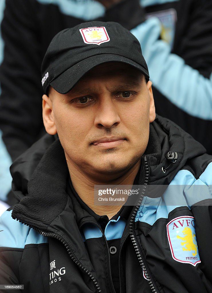 Stiliyan Petrov of Aston Villa looks on from the bench during the Barclays Premier League match between Wigan Athletic and Aston Villa at DW Stadium on May 19, 2013 in Wigan, England.