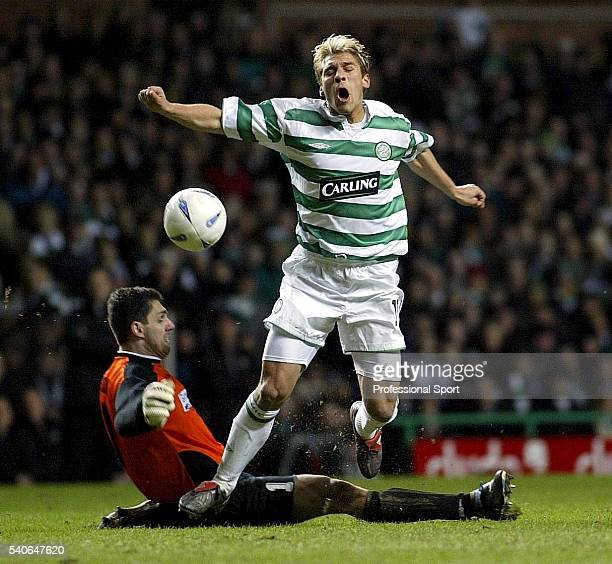 Stiliyan Petrov of Celtic rounds FK Telplice goalkeeper Tomas Postulka only to be fouled during the UEFA Cup 3rd round match between Celtic and FK...