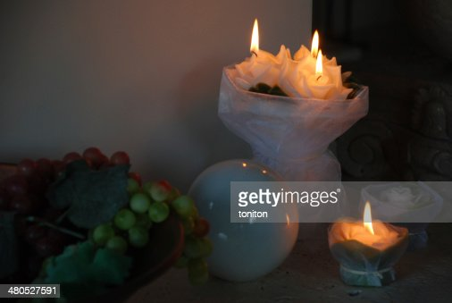Still candles in the dark : Stock Photo