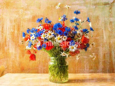 Nature morte bouquet color de fleurs sauvages photo for Bouquet de fleurs sauvages