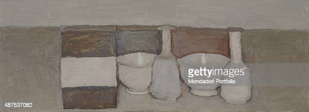 Still Life by Giorgio Morandi 20th Century oil on canvas 26 x 70 cm Museum of Modern and Contemporary Art of Trento and RoveretoMART Whole artwork...