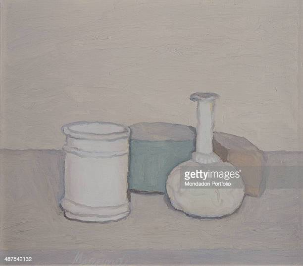 Still Life by Giorgio Morandi 20th Century oil on canvas Private collection Whole artwork view The painting belongs to a series of still lives with a...
