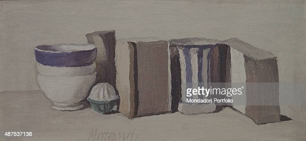 Still Life by Giorgio Morandi 20th Century oil on canvas Whole artwork view Composition in neutral colours including everyday life objects including...