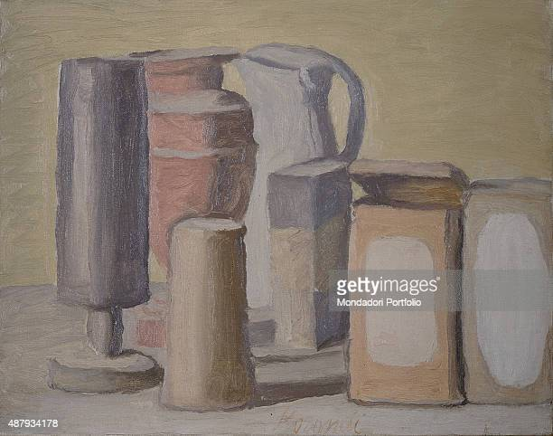 Still Life by Giorgio Morandi 20th Century oil on canvas Whole artwork view Composition including everyday life object which take the greatest part...