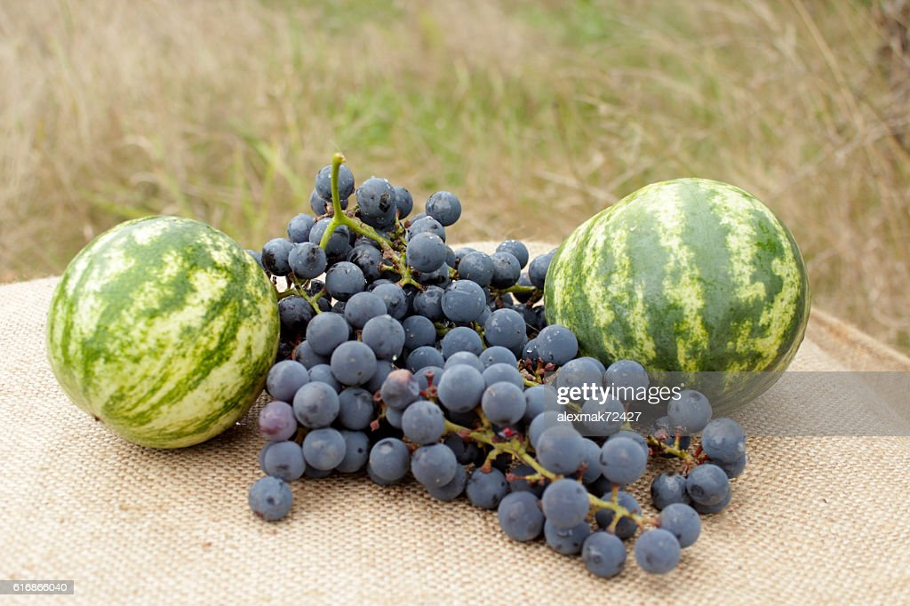 still life from two watermelons and grape : Stock Photo